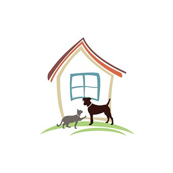 cartoon image, cat, dog, house