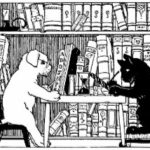 Dog and cat seated at table in library