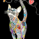 Tote bag drawing of many colored cat on black background