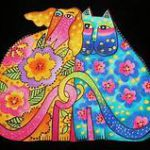 Colorful cat and dog with tails intertwined