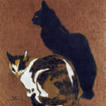 Black cat and brown, black, & white cat, brown background