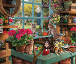 cats on table in garden shed