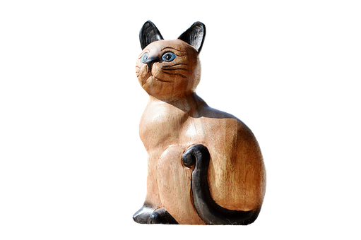 carving brown cat, black ears, tail
