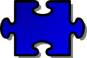 large blue puzzle piece