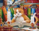 cat seated at desk, looking at book