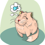 cartoon drawing of cat dreaming of fish