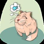 cartoon drawing of cat dreaming of fish