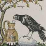 crow throwing pebbles in pitcher