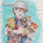 Christopher Robin carrying his toy animals