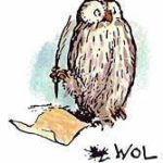 Owl writing note