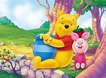 Pooh and rabbit with honey jar