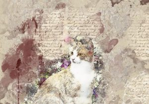 drawing of brown & white cat; flowers around it