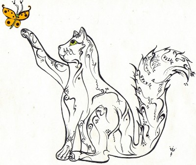 Drawing of cat and butterfly