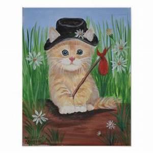 Orange cat, black hat, and knapsack