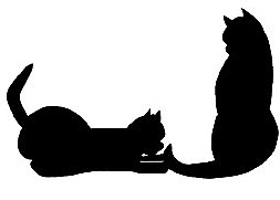 2 black cats in silhouette