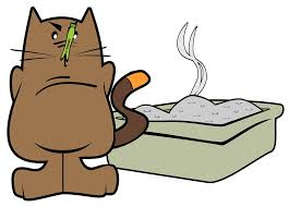 cartoon of cat, clothespin on nose, by smelly cat box