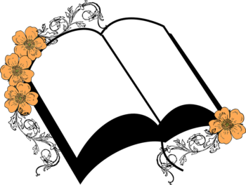drawing of blank book, flowers