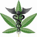 Marijuana leaf and medical symbol