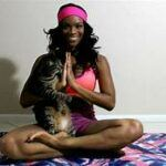 person in yoga position; namaste; cat sniffing hands