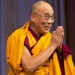 Dalai Lama in saffron robe