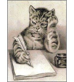 Cat thinking; writing