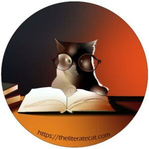 drawing of small cat with glasses, paws on open book