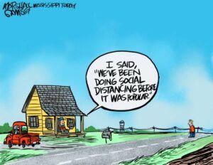 social distancing cartoon
