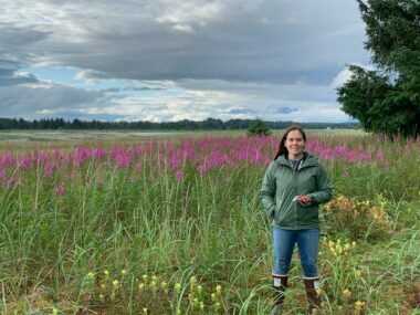 Susan Schaff in a field of fireweed