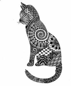 Cat drawn with many patterns