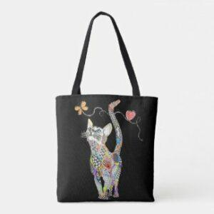 Cute many-colored cat tote