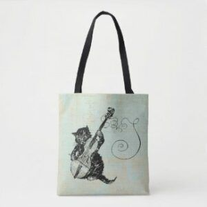 kitten playing violin tote bag
