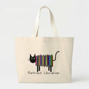 tote bag: pic of cat made of books