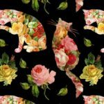 kitty and rose fabric swatch