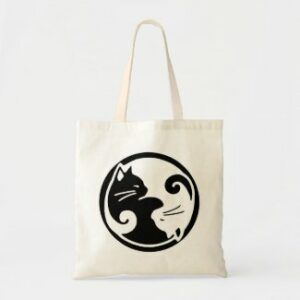 Black & white yin yang cats tote