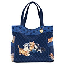 Blue quilted tote w/cute kittens