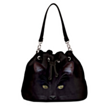 Woman's black purse; black cat art