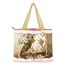 Quilted tote: kitten looking in mirror
