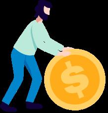 Cartoon: Person rolling round dollar symbol