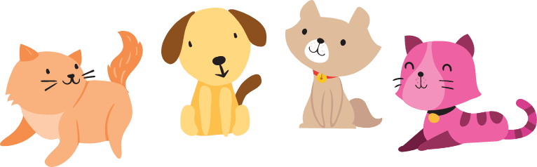 Cartoon: dog and cats