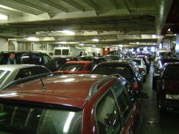Cars loaded on ferry