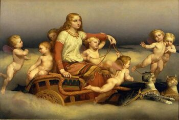 freya & cherubs, pulled in wagon by two cats