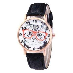 Watch w/cat face; leather band