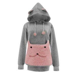 Dark grey; pink hoodie