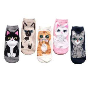 5 asst. pair cat socks, variety of colors