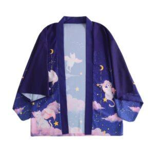 Blue kimono; cat with wings design