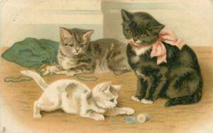 3 kittens; one playing with spool